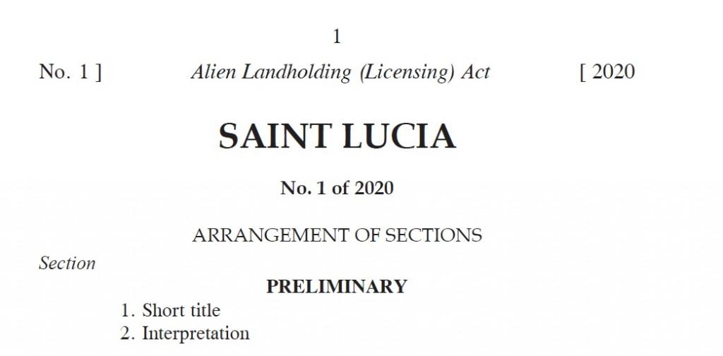 Alien Landholding (Licensing) Act. No 1 of 2020